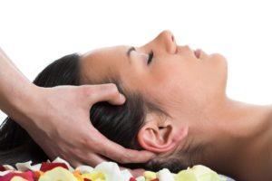 woman getting a head massage